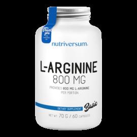 L-arginine - 60 kapszula - BASIC - Nutriversum - ízesítetlen - edzés előtti formulák, NO fokozók