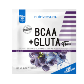 BCAA+GLUTA - 6 g - FLOW - Nutriversum - kékszőlő - 5080 mg minőségi aminosav adagonként