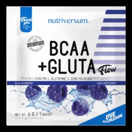 BCAA+GLUTA - 6 g - FLOW - Nutriversum - kék málna - 5080 mg minőségi aminosav adagonként