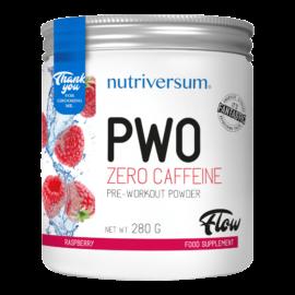 PWO zero caffeine - 280g - FLOW - Nutriversum - málna - nem tartalmaz koffeint