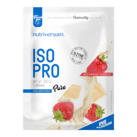 ISO PRO - 25 g - PURE - Nutriversum - fehércsokoládé-eper - prémium, fonterra fehérjealap