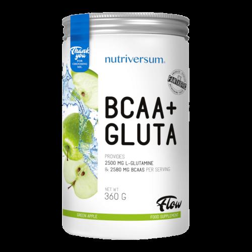 BCAA+GLUTA - 360 g - FLOW - Nutriversum - zöld alma - 5080 mg minőségi aminosav adagonként