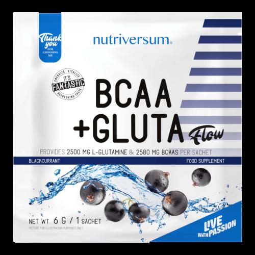BCAA+GLUTA - 6 g - FLOW - Nutriversum - feketeribizli - 5080 mg minőségi aminosav adagonként