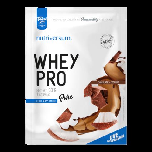 Whey PRO - 30 g - PURE - Nutriversum - csokoládé-kókusz - 23 g prémium fehérje forrás