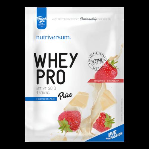 Whey PRO - 30 g - PURE - Nutriversum - fehércsokoládé-eper - 23 g prémium fehérje forrás