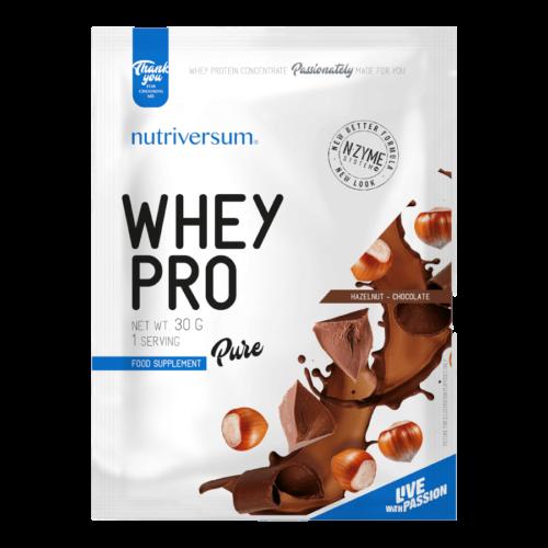 Whey PRO - 30 g - PURE - Nutriversum - mogyorós-csokoládé - 23 g prémium fehérje forrás