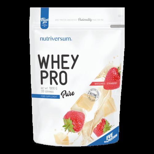 Whey PRO - 1 000 g - PURE - Nutriversum - fehércsokoládé-eper - 23 g prémium fehérje forrás