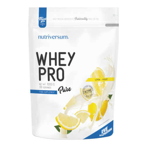 Whey PRO - 1 000 g - PURE - Nutriversum - citrom-joghurt - 23 g prémium fehérje forrás