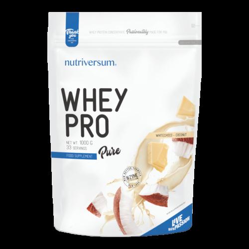 Whey PRO - 1 000 g - PURE - Nutriversum - fehércsokoládé-kókusz - 23 g prémium fehérje forrás