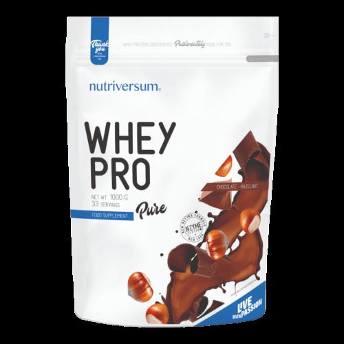 Whey PRO - 1 000 g - PURE - Nutriversum - mogyorós-csokoládé - 23 g prémium fehérje forrás