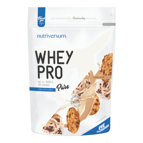 Whey PRO - 1 000 g - PURE - Nutriversum - cookie & cream - 23 g prémium fehérje forrás