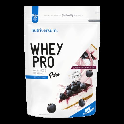 Whey PRO - 1 000 g - PURE - Nutriversum - áfonyás sajttorta - 23 g prémium fehérje forrás