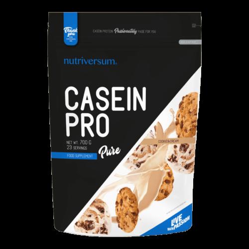 Casein Pro - 700 g - PURE - Nutriversum - cookie&cream - 23 g lassú felszívódású fehérje
