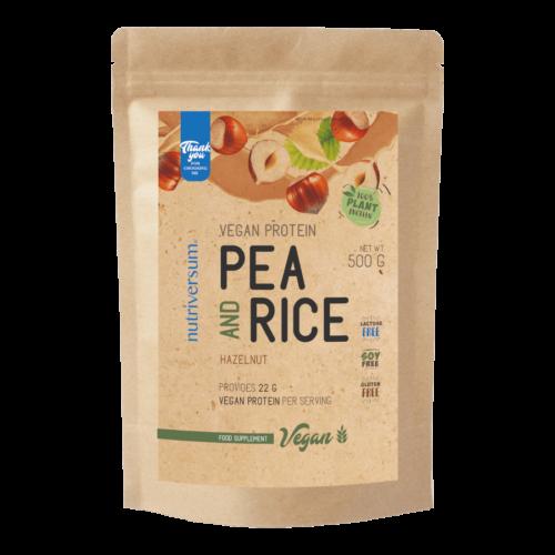 Pea & Rice Vegan Protein - 500g - VEGAN - Nutriversum - mogyoró - 100% növényi fehérje